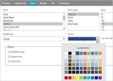 Ignite UI スプレッドシート:セルの書式ダイアログ
