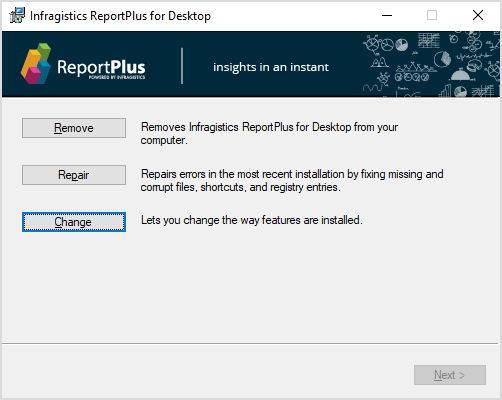 Step Two: In the ReportPlus Installer Click Change Button